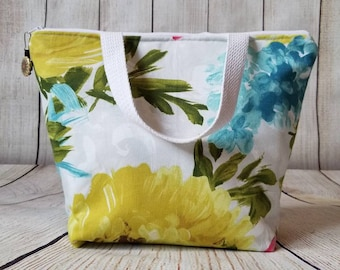 Insulated Lunch Tote/Lunch Bag/Watercolor Floral Lunch Bag/Adult Lunch Tote