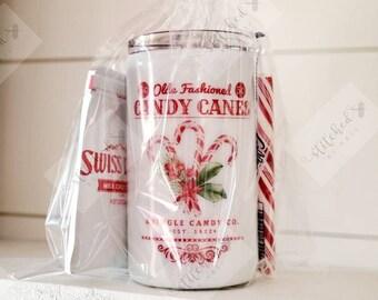 Candy Cane Tumbler/Christmas Tumbler/Old Fashioned Christmas Tumbler