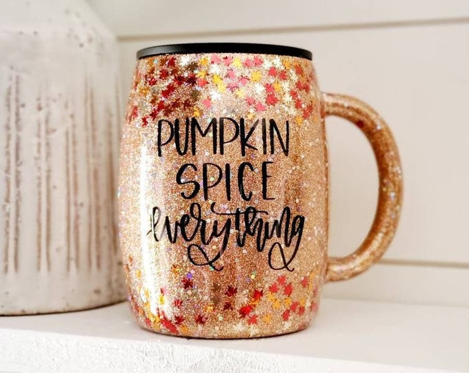 Featured listing image: Pumpkin Spice Coffee Mug/Coffee Cup/Fall Coffee Mug/Leaf Coffee Mug
