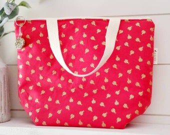 Ladybug Lunch Tote/Insulated Lunch Tote/Coral Lunch Tote