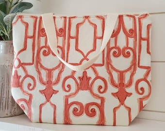 Coral Lunch Tote/Lunch Bag/Insulated Lunch Tote/Lunch Tote