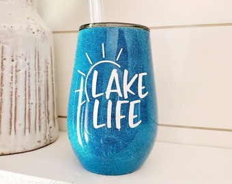 Lake Life Insulated Wine Tumbler With Straw/Personalized Wine Tumbler