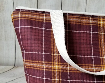 Plaid Lunch Tote/Adult Lunch Tote/Insulated Lunch Tote/Lunch Bag