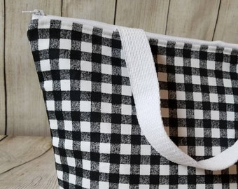 Buffalo Plaid Lunch Tote/Insulated Lunch Tote/Adult Lunch Tote/Lunch Bag