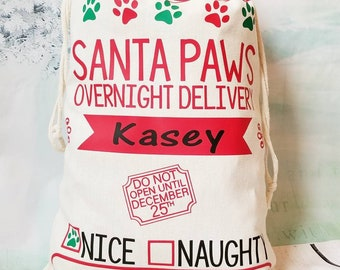 Personalized Pet Santa Bag/Pet Christmas Bag/Dog Santa Bag/Cat Santa Bag