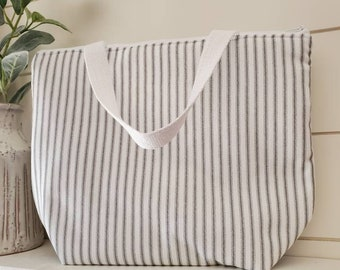 Striped Insulated Lunch Tote/Lunch Bag/Farmhouse Lunch Tote