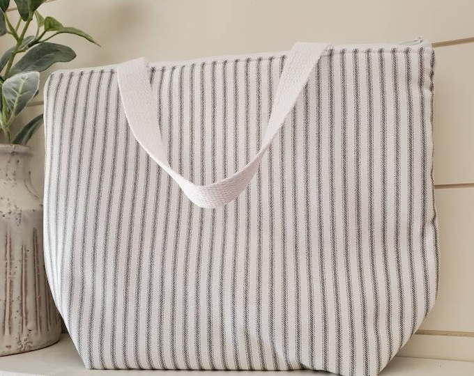 Featured listing image: Striped Insulated Lunch Tote/Lunch Bag/Farmhouse Lunch Tote