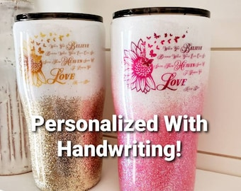 Memorial Tumbler/Glitter Tumbler/In Memory Of Gift/Personalized Tumbler/Handwriting Tumbler