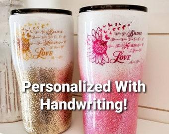 Memorial Tumbler/Glitter Tumbler/In Memory Of Gift/Personalized Tumbler/Handwriting Tumbler
