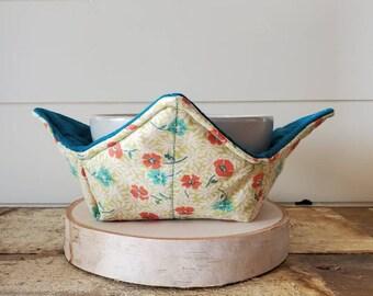 Floral Bowl Cozy/Bowl Cozy/Soup Bowl Cozy/Microwaveable Bowl Cozy