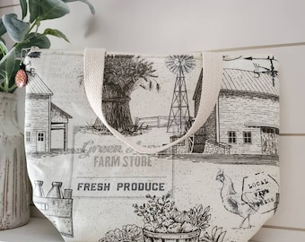 Farm Insulated Lunch Tote/Insulated Lunch Tote/Lunch Bag/Farmhouse Lunch Tote