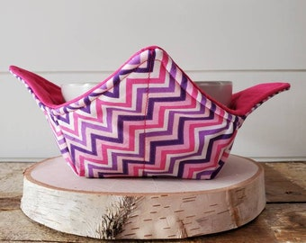 Pink Zig Zag Bowl Cozy/Valentines Bowl Cozy/Bowl Cozy/Pink Bowl Cozy