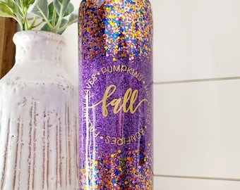 Fall Tumbler/Autumn Tumbler/Glitter Tumbler/Its Fall Y'all/Purple Tumbler