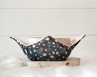 Green Floral Bowl Cozy/Pink Polka Dot Bowl Cozy