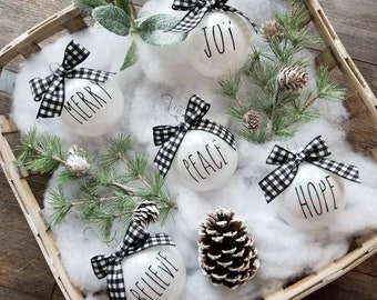 Rae Dunn Inspired Christmas Ornaments/Buffalo Plaid Ornaments/Christmas Ornaments/Glitter Ornaments