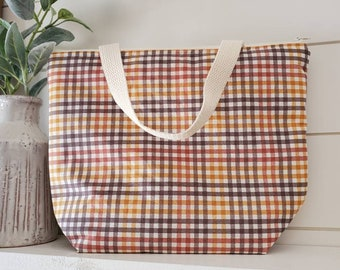 Insulated Lunch Tote/Plaid Lunch Tote/Adult Lunch Tote