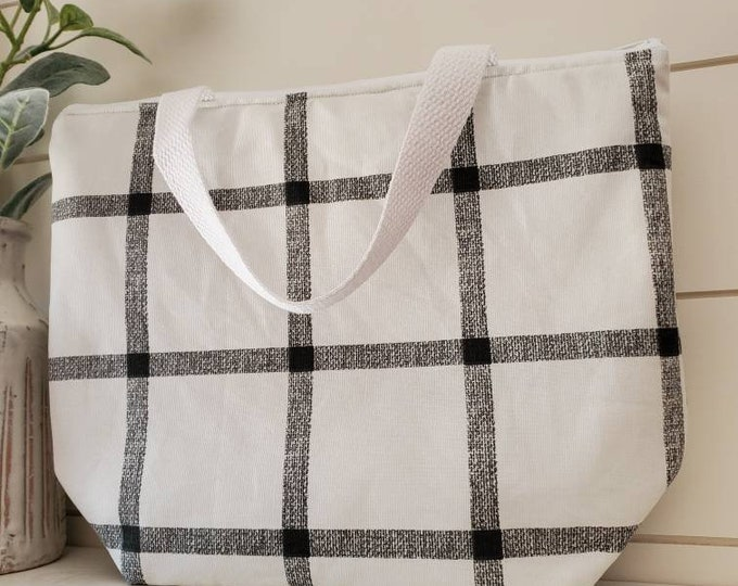 Featured listing image: Insulated Lunch Tote/Striped Lunch Tote/Black and White Lunch Tote