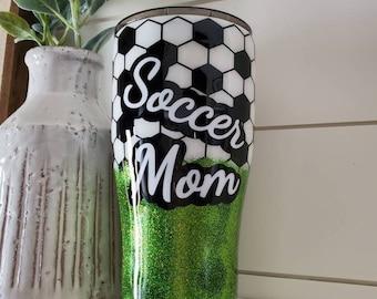 Soccer Mom Tumbler/Sports Tumbler/Soccer Mom/Personalized Soccer Tumbler