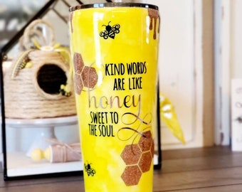 Bee Tumbler/Bee Kind Tumbler/Tumbler With Straw/Honeycomb Tumbler