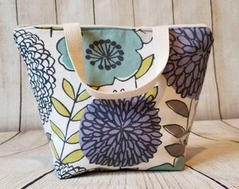 Floral Lunch Tote/Insulated Lunch Tote/Lunch Bag/Flower Lunch Tote