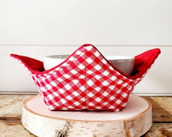 Red Checkered Bowl Cozy/Bowl Cozy/Summer Bowl Cozy