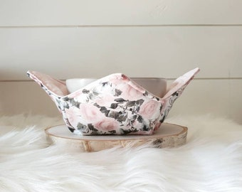 Pink Floral Bowl Cozy/Reversible Bowl Cozy