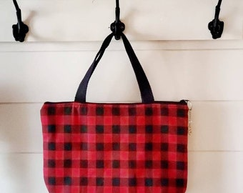 Red Plaid Lunch Tote/Insulated Lunch Tote/Lunch Bag/Checkered Lunch Bag