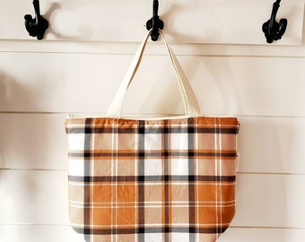 Fall Insulated Lunch Tote/Orange Plaid Lunch Tote