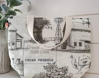 Farm Insulated Lunch Tote/Insulated Lunch Tote/Lunch Bag/Farmhouse Lunch Tote