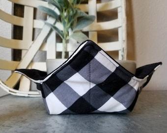 Buffalo Check Bowl Cozy/Buffalo Plaid Bowl Cozy/Black Checkered Bowl Cozy/Soup Bowl Cozy/Microwavable Bowl Cozy/Housewarming Gift