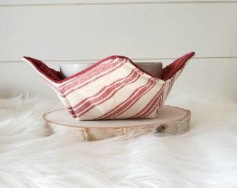 Farmhouse Bowl Cozy/Red Striped Bowl Holder