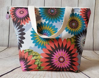 Insulated Lunch Tote/Floral Lunch Tote/Lunch Bag/Adult Lunch Tote