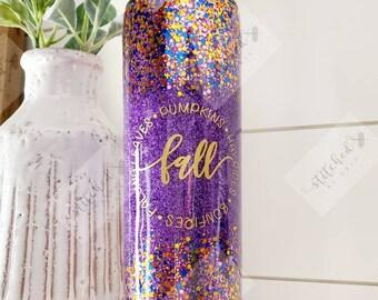 Fall Tumbler/Autumn Tumbler/Glitter Tumbler/Its Fall Y'all/Purple Tumbler