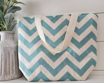 Blue Chevron Insulated Lunch Tote/Lunch Bag/Work Lunch Tote