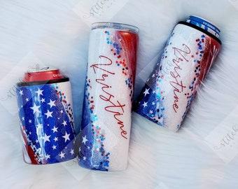 4th of July Tumbler/Patriotic Tumbler/American Flag Tumbler/4th of July Slim Can Holder