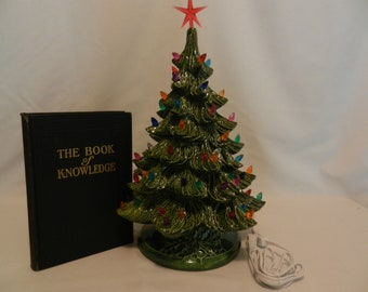 19 ceramic christmas tree lighted christmas tree green christmas tree with multi colored lights free domestic shipping - Green Ceramic Christmas Tree With Lights