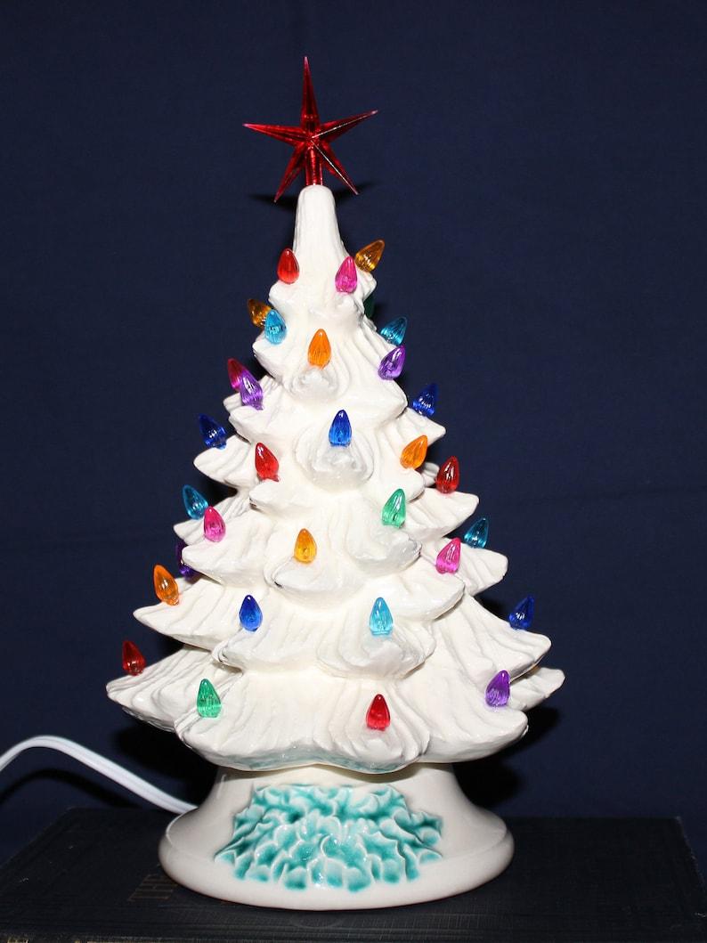 White Ceramic Christmas Tree.11 White Ceramic Christmas Tree Lighted Christmas Tree Night Light Multi Colored Lights Christmas Tree Free Domestic Shipping