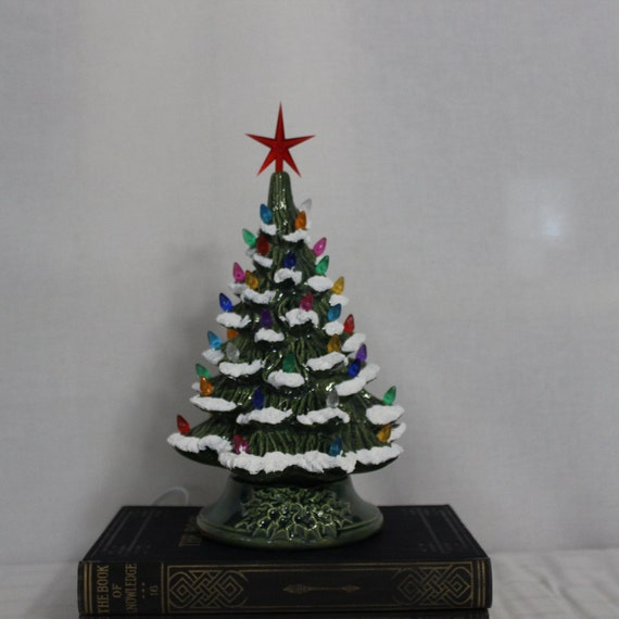 Lighted Christmas Tree.11 Ceramic Christmas Tree Lighted Christmas Tree Green Glazed Tree With Multi Colored Lights And Snow Free Domestic Shipping