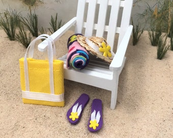 """ab9917d99 Dollhouse Miniature Beach Set  4 Flip Flops Sandals Hat Towel Bag 1"""" Scale  1 12"""
