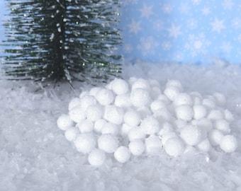 "Dollhouse Miniature Snowballs Winter White Christmas 150 pcs 1"" Scale 1:12 Fairy Garden Elf on a Shelf"