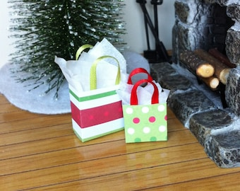 "Dollhouse Miniature Christmas Gift Bag Set #3 Holiday Presents 1"" Scale 1:12"