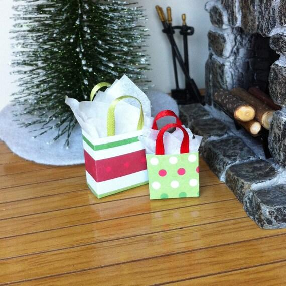 Dollhouse Miniature Christmas Gift Bag Set 3 Holiday Presents | Etsy