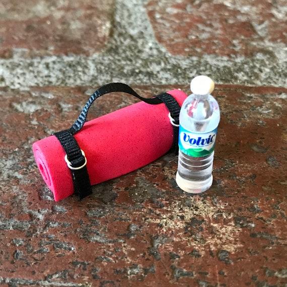 "Dollhouse Miniature Exercise Yoga Mat Water Bottle 1:12 1"" Scale Fairy Garden"