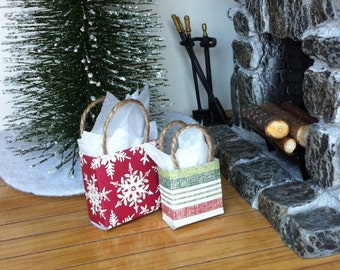 """Dollhouse Miniature Christmas Gift Bag Set #7 Holiday Presents 1"""" Scale 1:12"""
