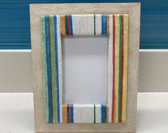 Stripes Horizontal 5x7 THE KATHARINE FRAME Rustic Frame Burlap Bow Ivory and Pebble Striped Frame