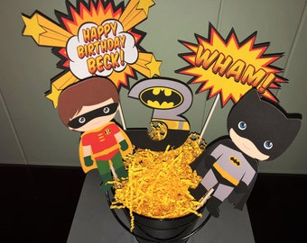 Batman Centerpiece Kid And Robin Birthday Decorations Party Super Hero