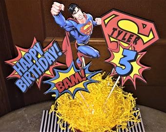 Superman Centerpiece Birthday Decorations Party Super Hero