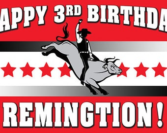 1626f176bf Rodeo Bull Riding Personalize Printed Birthday Banner