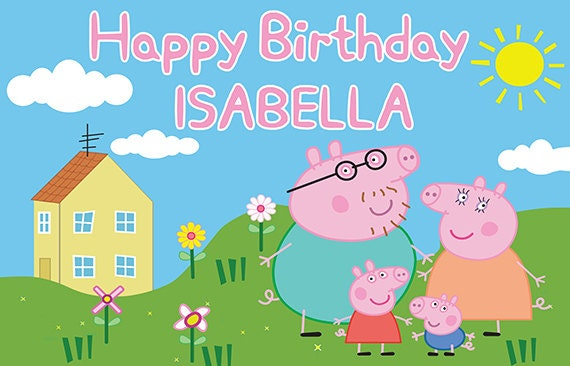 peppa pig personalize birthday banner family etsy