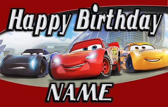 Disney Cars Personalize Birthday Banner 3
